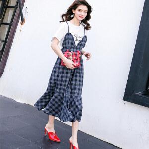 七格格假两件套连衣裙短袖春装2018新款女装韩版显瘦荷叶边格子中长裙子