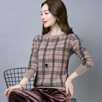 2018冬季新款套头毛衣女格子民族风针织衫圆领大码打底衫