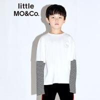 littlemoco男童T恤条纹衣袖假两件刺绣字母棉T恤套头圆领长袖T恤