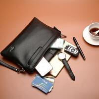 大容量男士手包男包信封包手拿包男软皮休闲商务手抓包夹包钱包潮 黑色
