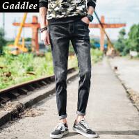 Gaddlee2017年秋冬新款时尚男青年个性潮流修身休闲小脚牛仔裤