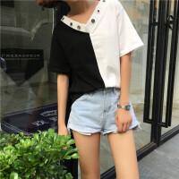 韩观夏季女装韩版个性大V领宽松拼色短袖T恤前后两穿学生中袖露肩上衣SN361 均码