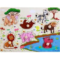 木质手抓板拼图木制宝宝早教益智力儿童认知玩具1-2-3-4岁 k9n