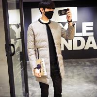冬季棉衣男士韩版修身男 青少年中长款潮流外套男棉袄 灰色 M