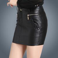 皮短裙女半身裙显瘦高腰皮裙包臀裙秋冬新款黑色大码一步裙子 黑色