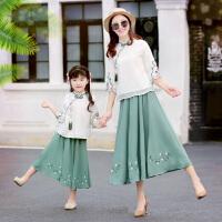 亲子装夏季中国风母女装一家三口连衣裙子套装