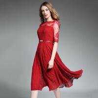 欧洲站2017夏装新款刺绣蕾丝名媛百褶五分袖中长款修身连衣裙