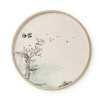 新中式实木圆形装饰画玄关水墨禅意国画客厅墙挂画诗意二十四节气 70cm圆框 单幅价格 木色
