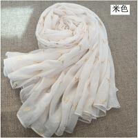 米白色姜黄色棉麻围巾女士纯色韩版秋冬季超长款文艺百搭保暖丝巾