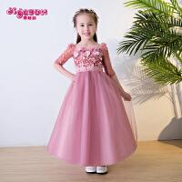 儿童礼服公主裙粉色女孩蓬蓬裙长袖表演服新款婚纱礼服春夏