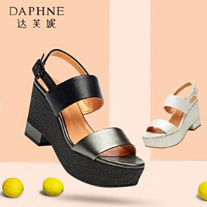 达芙妮 夏季 凉鞋韩版高跟防水台露趾一字扣女鞋