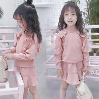 女童春装套装上衣裙子儿童钉珠鱼尾裙春款两件套