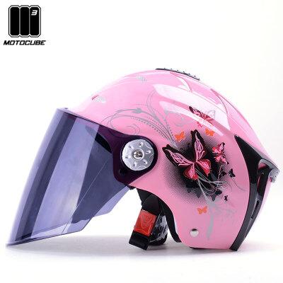 M3野马电动车头盔女夏季防晒紫外线安全帽轻便透气四季半盔灰电瓶 夏季头盔 防晒防紫外线