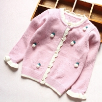 女童针织衫外套秋装新款立体樱桃装饰34岁宝宝毛衣开衫上衣