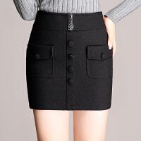 高腰毛呢裙半身裙秋冬新款包臀裙裹裙加厚显瘦西装一步裙呢子短裙 5X