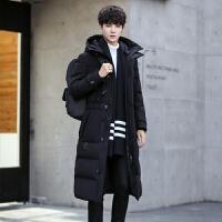 新款冬季男士羽绒服帅气修身中长款加厚青年韩版过膝长款外套 95黑色 185/XXL