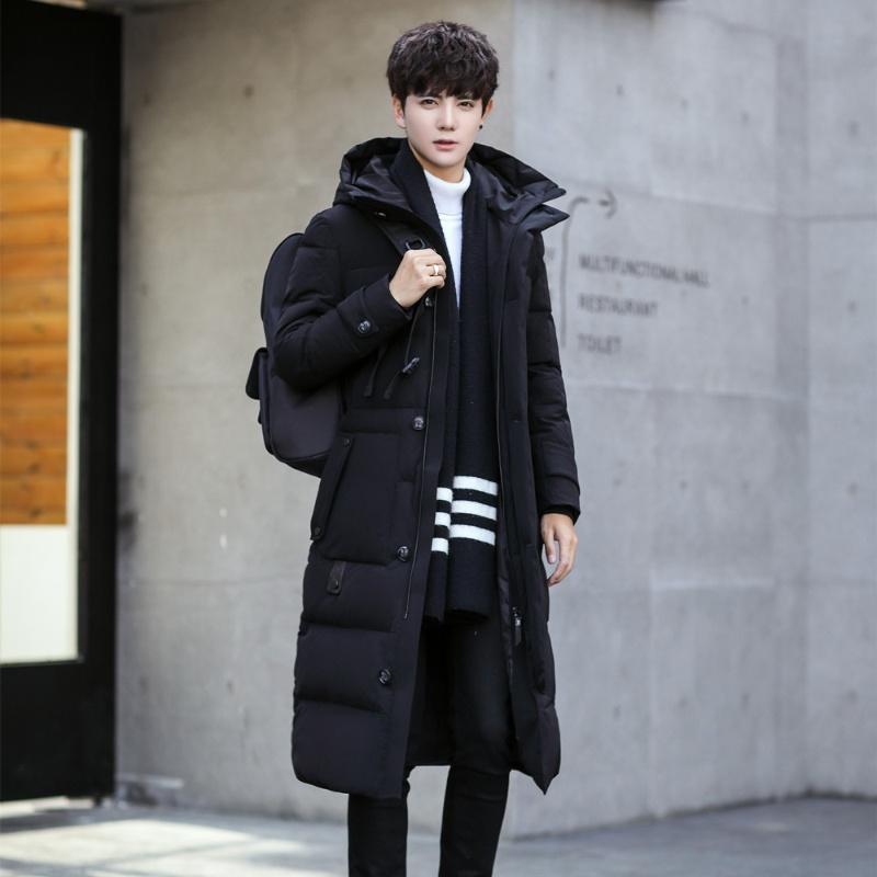 新款冬季男士羽绒服帅气修身中长款加厚青年韩版过膝长款外套 95黑色 185/XXL 发货周期:一般在付款后2-90天左右发货,具体发货时间请以与客服协商的时间为准