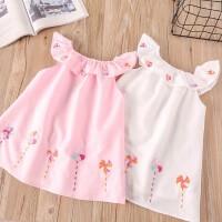 韩版女童夏装新款娃娃领连衣裙子 儿童宝宝纯棉背心裙衫 2018童装