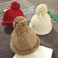 儿童毛线帽手工大帽子针织帽男女宝宝帽子保暖护耳套头帽秋冬季潮