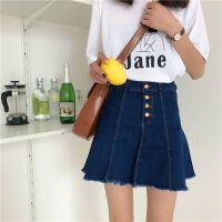 大码牛仔半身裙a字女胖m00斤高腰显瘦个性不规则包臀裙短裙夏季