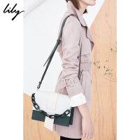 Lily2018春新款女装多种背法撞色链条包手包斜挎包118110BZ813