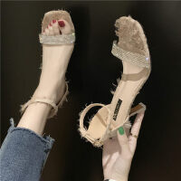 新款时尚猫跟一字带性感高跟鞋凉鞋女仙女风韩版ins潮百搭