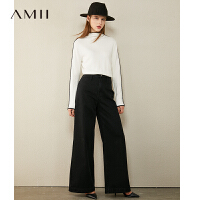 【3折到手价96】Amii百搭黑色针织衫女2020秋季新款修身高领毛衣撞色长袖打底上衣