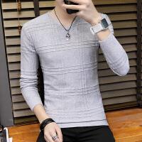 男士毛衣春秋季新款韩版修身型百搭V领潮流个性针织打底线衫