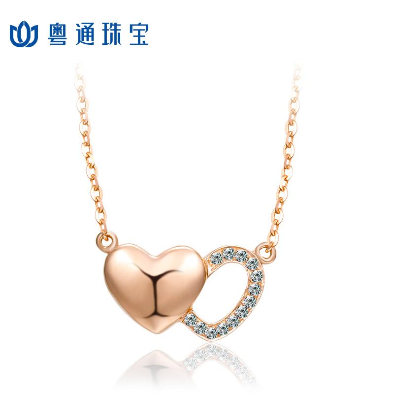 CNUTI粤通珠宝  18K金项链  钻石项链  同心结钻石项链