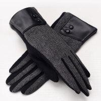 羊毛保暖手套女士秋冬韩版五指手机触摸屏加绒加厚手套