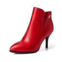 富贵鸟短筒靴女单靴 新款欧美风时尚牛皮短靴尖头细高跟靴女婚靴