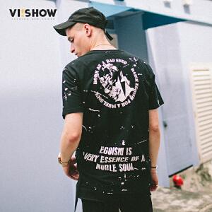 VIISHOW夏装新品圆领套头休闲短袖T恤男字母印花男士短T纯棉