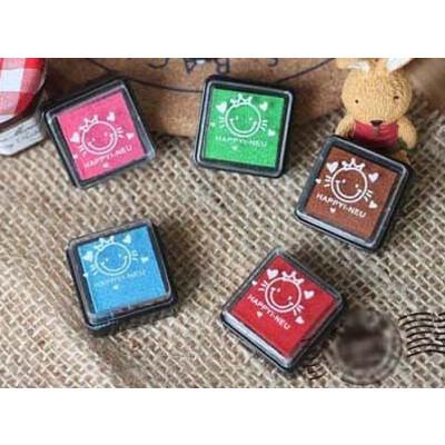 韩国文具 韩国创意开心五色小印泥印章 日记好帮手 多色小印泥 5色印泥套装
