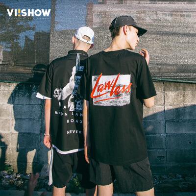 VIISHOW2018新款T恤圆领套头半袖上衣宽松韩版黑色印花男士短袖