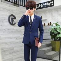 西服男套装三件套韩版修身学生小西装男士休闲职业装新郎伴郎礼服