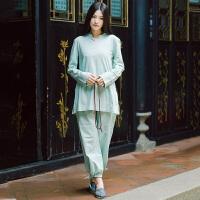 棉麻瑜伽服套装长袖居士服禅修服女白色茶人服太极服568