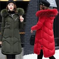 冬季羽绒服女加厚保暖中长款过膝加肥加大码200斤宽松大毛领棉衣
