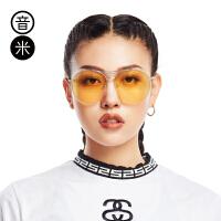 音米新款迷幻复古太阳镜女个性半框眼镜男开车圆形墨镜女潮 AASAJH205