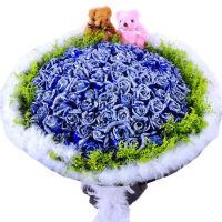 母节鲜花速递 99朵玫瑰花束 全国送花 生日礼盒 鲜花快递 北京上海深圳南京成都蓝色妖姬
