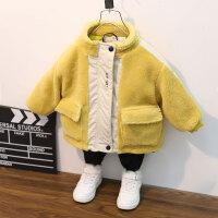 男童毛毛衣外套秋冬装上衣洋气小儿童加绒宝宝棉衣