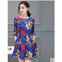 连衣裙女韩版修身中长款裙子连衣裙女新款短袖花色A字裙 支持礼品卡支付