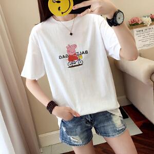 【多色可选】小猪佩奇印花T恤女2018夏季新款韩版休闲时尚简约宽松短袖T恤上衣