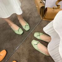休闲平底单鞋时尚新款夏季方头百搭豆豆鞋ins搭配裙子穿的仙女鞋