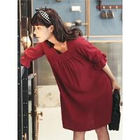 红色连衣裙春秋女装2019新款宽松方领短款法式小众复古裙子小个子