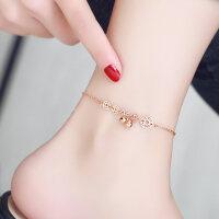 日韩版时尚镀18K玫瑰金脚链女钛钢彩金流苏铃铛钱币脚链饰品礼物