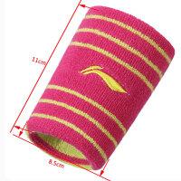 护腕男女运动保暖扭伤篮球羽毛球健身时尚纯棉吸汗擦汗护手腕 24_012条纹红黄色 两只装