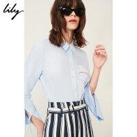 【25折到手价:119.75元】 Lily春夏新款女装系带造型袖衬衫口袋印花直筒衬衫118220C4524