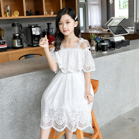 女童连衣裙夏中大儿童白色蕾丝公主裙洋气时尚背心吊带裙韩版休闲