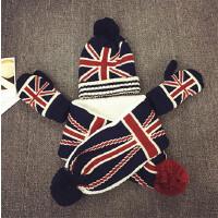 儿童针织毛线帽秋冬加绒手套围巾婴儿帽男女宝宝帽子6--24个月