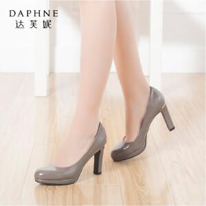 【双十一狂欢购 1件3折】Daphne/达芙妮秋季浅口女单鞋 细高跟漆皮通勤鞋单鞋